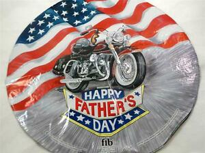 NEW-18-034-Fathers-Day-Mylar-Foil-Balloon-Circle-Motorcycle-American-Flag