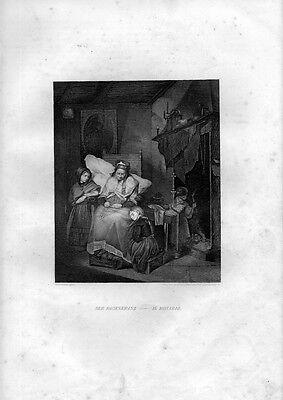 Stampa antica LA RECITA DEL ROSARIO religione 1852 Old Print Engraving