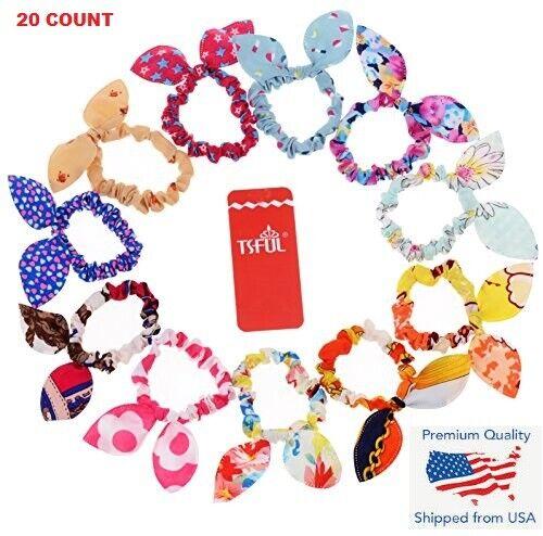 12PVH Girl Rabbit Ear Scrunchies Hair Band Rope Elastic Tie Ponytail Holder NP