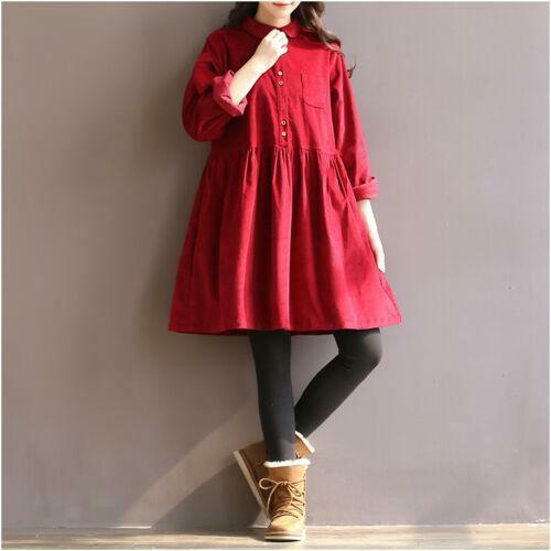 VINTAGE Winter Japanese Sweet Mori Girl Lolita Corduroy Elegant Women/'s Dress Sz