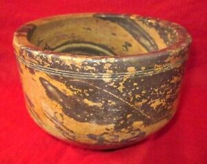 1930-039-s-Indian-Handcrafted-Shaded-Brown-amp-Cream-Stone-Food-Eating-Bowl