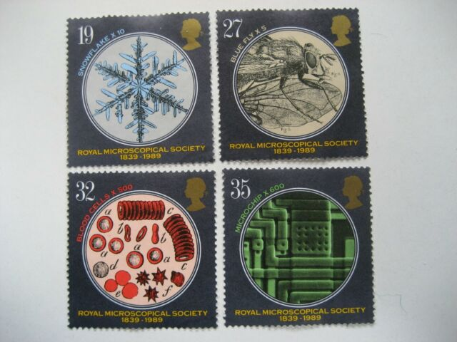GB 1989 MICROSCOPICAL SOCIETY FULL SET SG1453/6 VERY FINE USED STAMPS