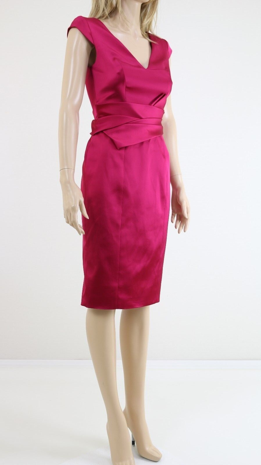 Karen Millen Woherren Satin Cocktail Fuchsia Rosa Pencil Evening Dress 6To16