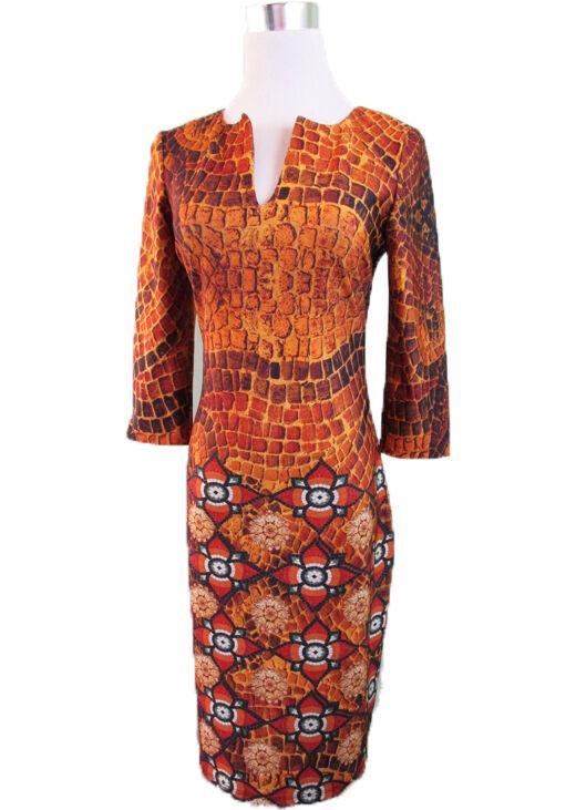 Woman New Designer Inspirot Bodycon Party Evening Print Mosaic Dress sz M 12 V79