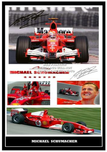 062  MICHAEL SCHUMACHER F1 SIGNED REPRODUCTION PRINT SIZE A4