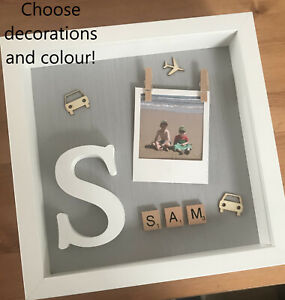 Details About Personalised Kids Boy Girl Name Box Picture Frame Birthday Scrabble Letter