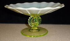 "Vintage Fenton? Opalescent Vaseline Glass Compote - 6 1/2"" Round"