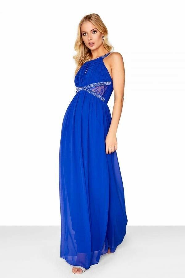 Little Mistress Woherren Cobalt Empire Maxi Dress Blau Größe UK12  EU40