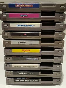 Lot-of-10-NES-Nintendo-Games-Mario-Duck-Hunt-NFL-Golf-Tiger-Heli-and-more