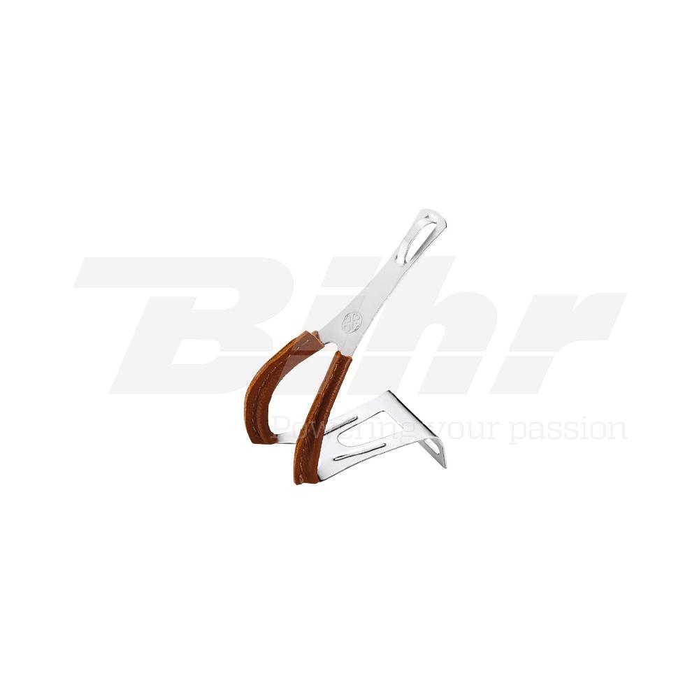 35515 Fermapiedi RETRO VP-712P acciaio CP ricoperto in cuoio