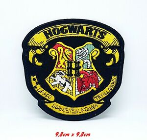 Harry Potter Hogwarts Yellow on Black Iron Sew on Embroidered Patch #1183