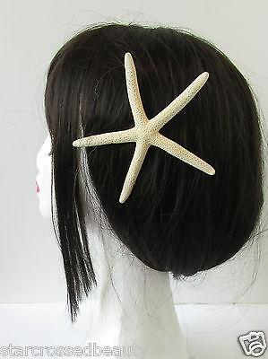Real Starfish Hair Clip Beach Bridal Sea Shell Mermaid Boho Festival Cream R81