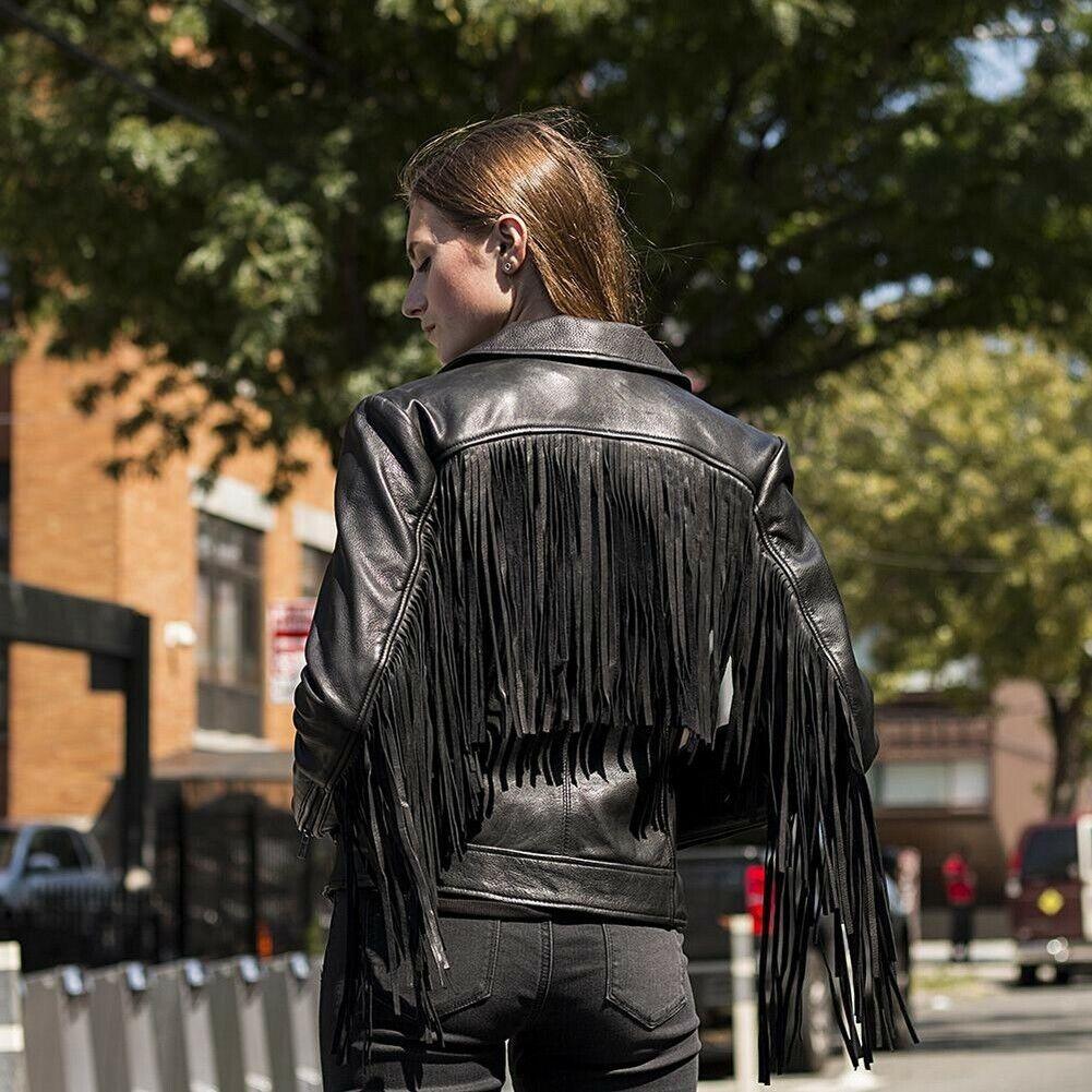 Whet-Blu DAISY - Premium Naked Cowhide Fringed Leather Jacket - Black - X-Large