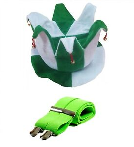 St-Patrick-039-s-Jour-Bouffon-Chapeau-Vert-Blanc-Cloches-Vert-Bretelles-Robe