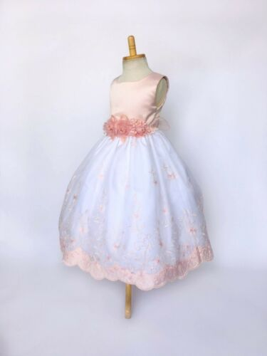 Blush Christmas Embroidery Floral Holiday Wedding Flower Girl Dress 4 6 8 10 12