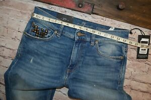 New-7-for-all-mankind-RONNIE-JEANS-Taille-31-34-034-leg-The-Skinny-Brillant-GOODYEAR-Pocket
