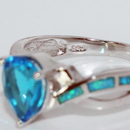 London Blue Topaz Ring 8x10mm Poire Zircone cubique Blue Lab Opal 925 Sterling Silver