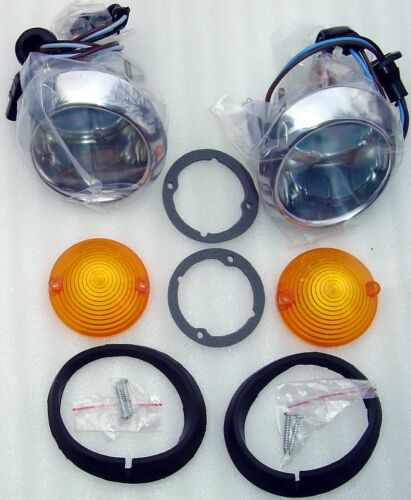 65-66 FORD Mustang Parking Light Bodies,Fo Mo Co Lens SS screws,Gaskets,Bulbs,