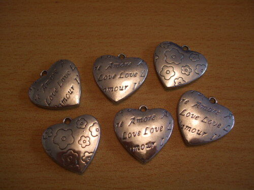 Silver stylish love amour heart pendants love valentines 25mm x6 UK seller C225