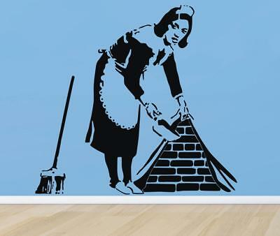 BANKSY MAID Decal WALL STICKER Home Decor Art Vinyl Stencil Cleaning Lady ST50