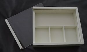 "NEW ~ CUTE PRIMA WOOD WHITE SHADOW BOX ""with dividers"" 6.25"" X 7.5"" X 1.5"""