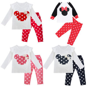 8ba012f29 2 Piece Baby Girl Minnie Mouse Long Sleeve Tops+Pants Set Kid Fall ...