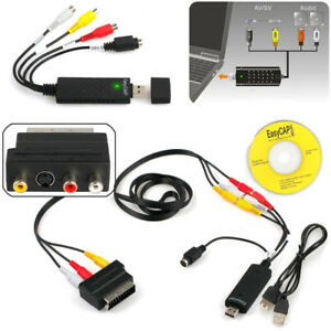 USB-VHS-Videorekorder-zu-Video-Konverter-DVD-Neu-Komplettes-Scart-Saetze-UK