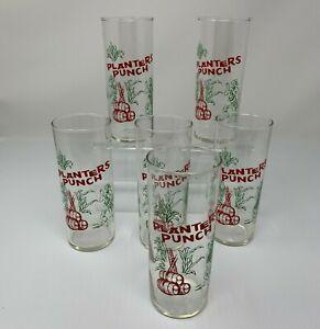 Planters-Punch-Glasses-Set-of-Six-Vintage-Barware-Tiki-Party-Cocktails-Beverage