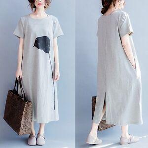 Korean Women Loose Grey T-shirt Dress Cotton Printing Back Slit ... 342edc5d05