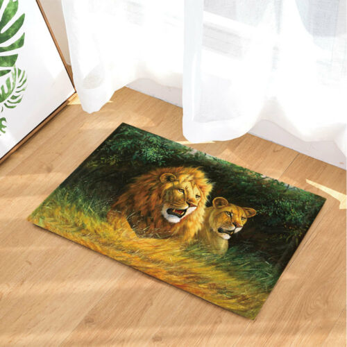 Wild Lion In Summer Forest Non-Slip Outdoor Indoor Front Door Mat Bathroom