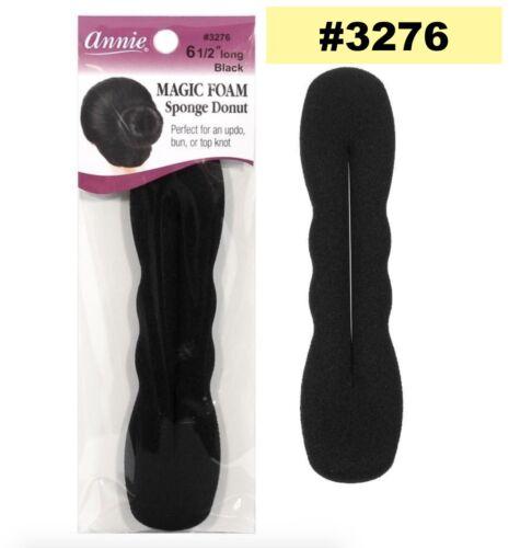 "ANNIE MAGIC FOAM SPONGE DONUT 6 1//2/"" LONG BLACK #3276 FOR UPDO BUN TOP KNOT"