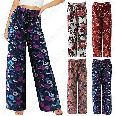 Gewidmet New Ladies Floral Print Palazzo Trousers Belted Womens Long Flared Look Pants Exquisite Handwerkskunst;