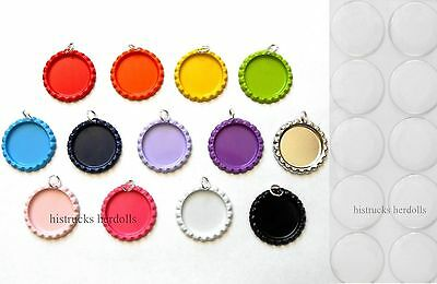 """25 1"""" Flat Bottle Cap Double Sided Painted Colors Charms + Clear Epoxy Stickers"""