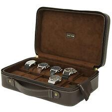 TS5974BRN Tech Swiss 10 Watch Case Compact Travel Briefcase Design Brown Leather ZIPPER