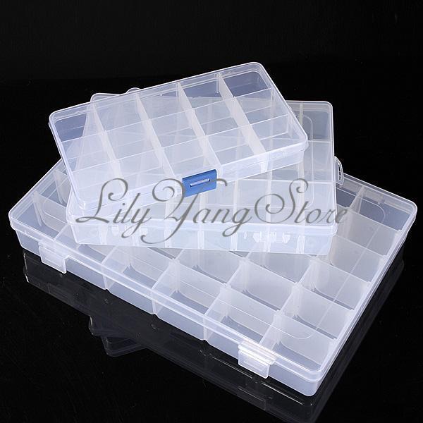 15/24/36 Grid Clear Adjustable Jewelry Organizer Box holder Storage Container