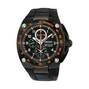 Seiko Sportura SNAE37 SNAE37P1 Mens Alarm black leather Watch RRP $1200.00