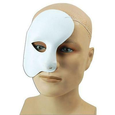 White Phantom of the Opera Venetian Style Fabric Masquerade Mask Halloween Mens