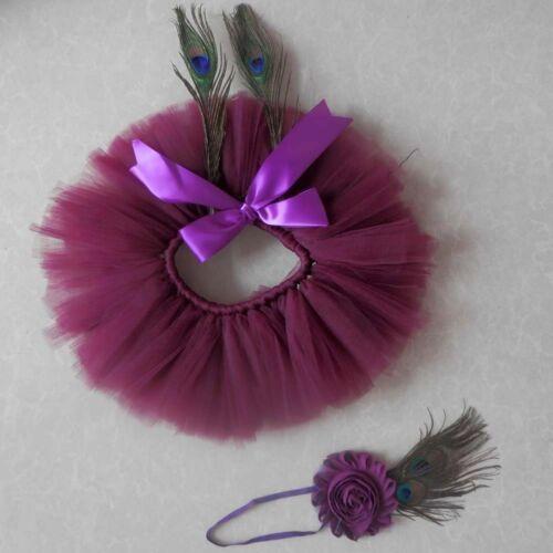 Newborn Toddler Baby Girls Tutu Skirt Headband Photo Props Costume Outfits