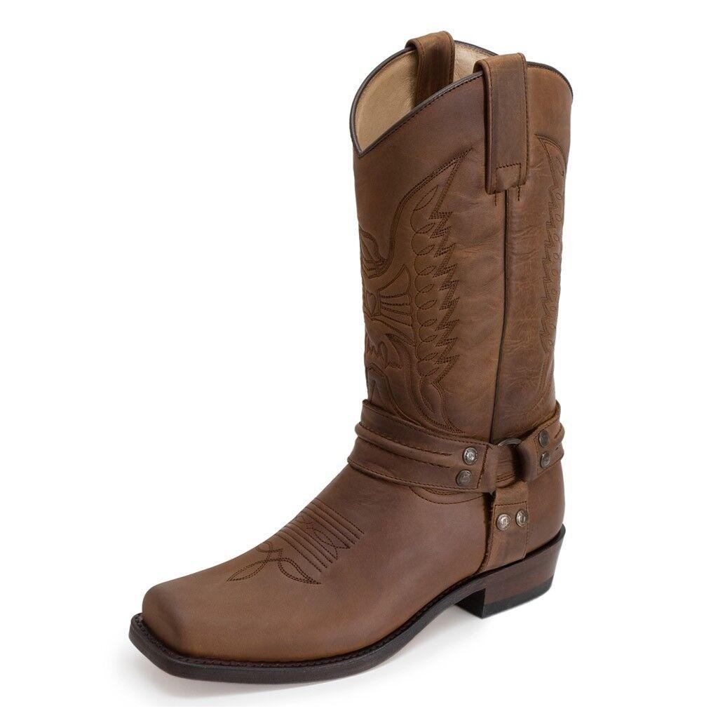 Sendra 2621 hombres Cowboy botas De Cuero De Bicicleta marrón Western botas de motorista Bronceado