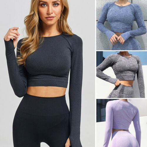 Details about  /Womens Seamless Long Sleeve Crop Top Yoga Gym Fitness Workout Stretch T-Shirt US