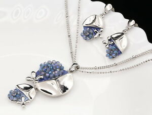silver-metal-violet-blue-enamel-crystal-beads-pendant-necklace-drop-earrings-S36