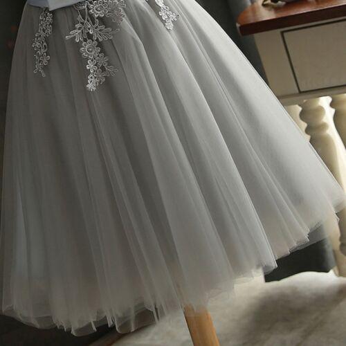Women Slim Short Formal Dress Gray Appliques Prom Bridesmaid Wedding Party Dress