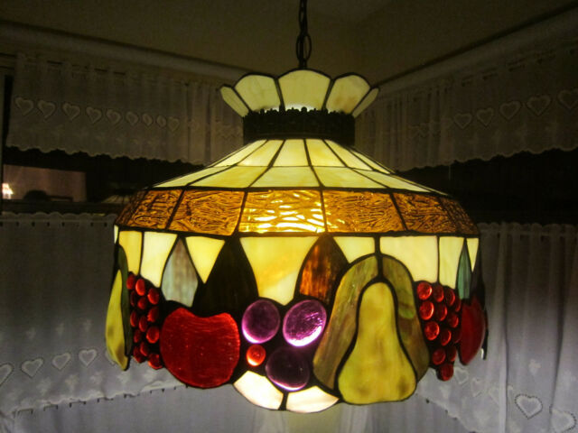 Vintage Tiffany Style Stained Fruit Pendant Light Fixture 16 Widt Chandelier