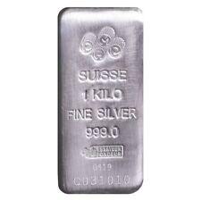 1 Kilo PAMP Suisse Silver Cast Bar .999 Fine (w/Assay)