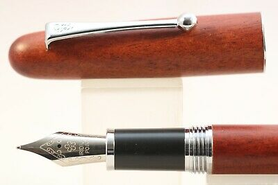 Jinhao Tao Wood No 9035 Medium Fountain Pen with Chrome Trim