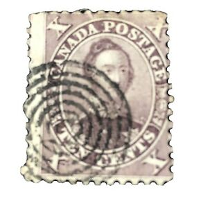 **CANADA, SCOTT # 17a, 10c. VALUE VIOLET PRINCE ALBERT 1859 ISSUE USED