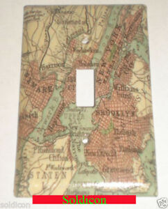 Map Of Old New York.Old New York City Nyc Map Toggle Rocker Light Switch Power Outlet