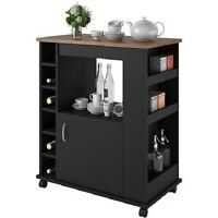Kitchen Island Cart Portable Rolling Utility Storage Cabinet Shelves Wood