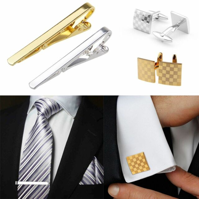 Set Mens Stainless Steel Necktie Tie Clip Bar Clasp Clamp Pin + Square Cufflinks