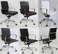 Eames Office Chair Replica Leather Soft Pad Ribbed Computer Executive Chairs